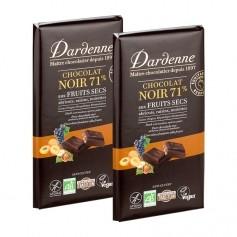 Dardenne, Chocolat noir aux fruits secs, tablette, lot de 2