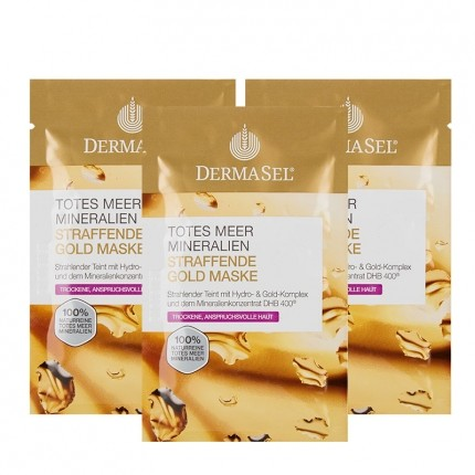 3 x DermaSel Exklusiv Totes Meer Maske Goldrausch
