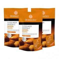 DermaSel, Sel de la mer Morte huile de bain aux amandes, lot de 3