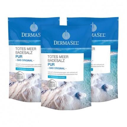 DermaSel, SPA Sel de bain de la Mer Morte pur, lot de 3