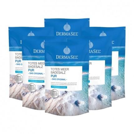 DermaSel Totes Meer Badesalz, Pur (6 x 500 g)