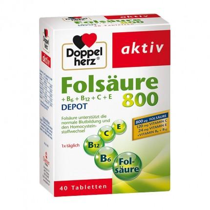 Doppelherz Folsäure 800 + B6 + B12 + C + E, Tabletten