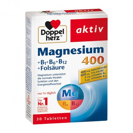 Doppelherz Magnesium 400 + B1 + B6 + B12 Tablets Double Pack