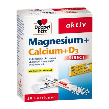Doppelherz Magnesium + Calcium + D3, Direktgranulat, Doppelpack