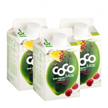 3 x Dr. Antonio Martins Coco Juice Bio-Kokossaft mit Ananas/Acerola