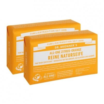 Dr. Bronner's Bar Soap Zitrus Orange Doppelpack