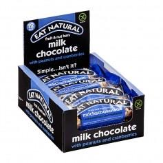 EAT NATURAL Faltschachtel Riegel Erdnuss Cashew Cranberry mit Milchschokolade