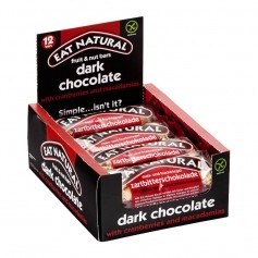 EAT NATURAL, Barres Cranberry Macadamia & Chocolat Noir, lot de 12