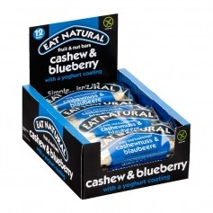 12 x EAT NATURAL Faltschachtel Riegel Cashew Blaubeer mit Joghurtüberzug