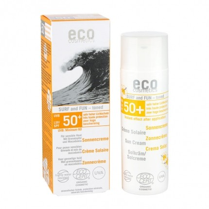Köpa billiga eco cosmetics Solskyddslotion Surf and Fun SPF 50+ tonad online
