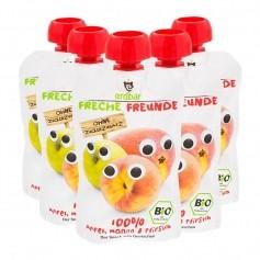 5 x Erdbär Quetschbeutel Freche Freunde Mango-Pfirsich Bio