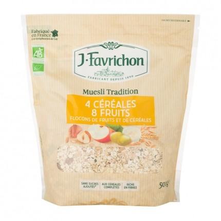 Favrichon Muesli 4 céréales 8 fruits bio