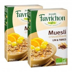 Favrichon, Muesli lin et fibre, lot de 2