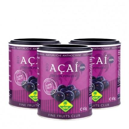 3 x Fine Fruits Acai Bio, Pulver