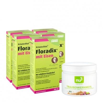 5 x Floradix mit Eisen, Tonikum + nu3 Bio-Traubenkernmehl