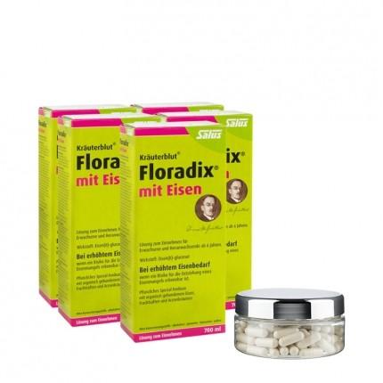 5 x Floradix mit Eisen, Tonikum + PURE WOMAN Oyster Hyaluron, Kapseln