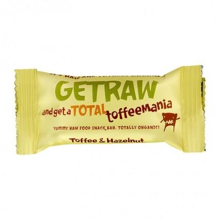 3 x Get Raw Bar -raakapatukka, toffee & hasselpähkinä, luomu