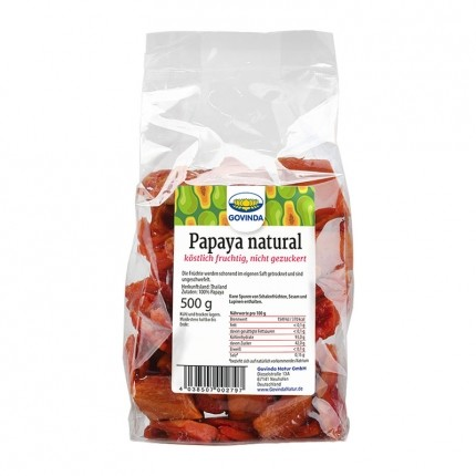 Govinda Papaya natural, getrocknet