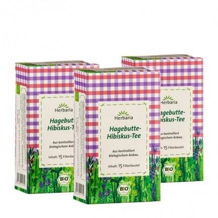 Herbaria Bio Hagebutte-Hibiskus-Tee (3 x 15 Beutel)