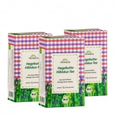 3 x Herbaria Hagebutte-Hibiskus Tee, Filterbeutel