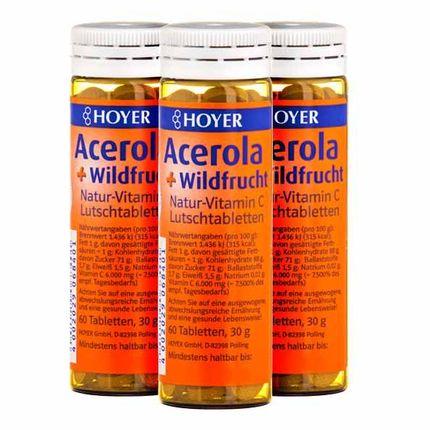 3 x Hoyer Acerola vilde bær med vitamin C, sugetabletter