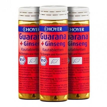 3 x Hoyer Guarana und Ginseng Bio, Kautabletten