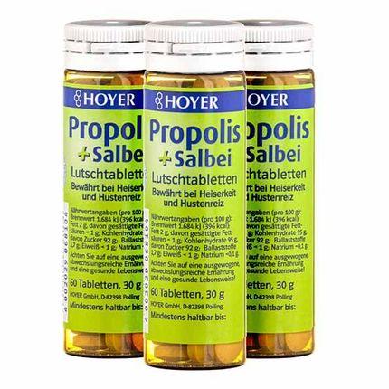 3 x Hoyer Propolis og Salvie øko, pastiller