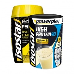 Isostar Power Play High Protein 90 Vanille + Isostar Hydrate & Perform Lemon, Pulver