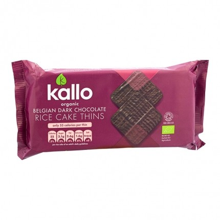 3x Kallo Organic Rice Cake Thins Belgian Dark Chocolate