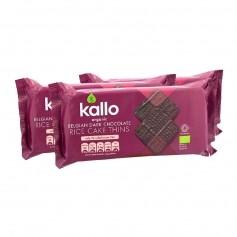 3x Kallo Organic Rice Cake Thins Belgian Dark Chocolate