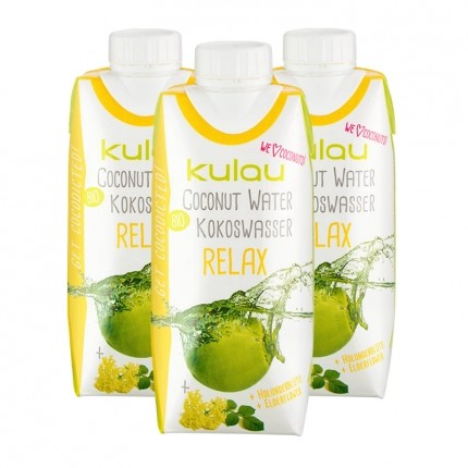 Kulau Bio Kokoswasser Relax, Holunderblüte (3 x 330 ml)