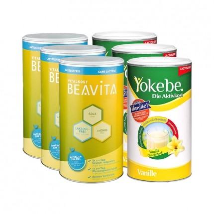 Laktosefreies Aktivkost-Set: 3 x Yokebe Aktivkost & 3 x BEAVITA Vitalkost