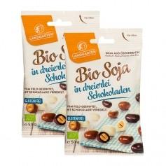 Landgarten, Graines de soja bio enrobées de chocolats, lot de 2