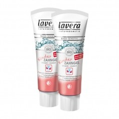 2 x Lavera basis sensitiv barn tannkrem jordbær-bringebær