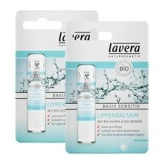Lavera, Basis Sensitiv baume à lèvres, amande/jojoba, lot de 2