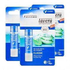 3 x Lavera Classic Lippenbalsam mit Bio-Aloe Vera
