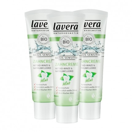 3 x Lavera basis sensitiv Zahncreme Mint