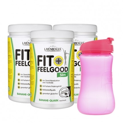 3 x Layenberger Fit+Feelgood Schlank-Diät Banane-Quark mit Lady-Shaker