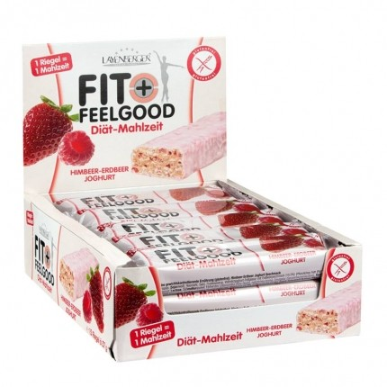 15 x Layenberger Fit+Feelgood Mahlzeitenersatz Riegel Himbeer Erdbeer