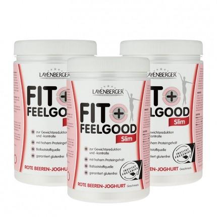 Fit+Feelgood Slim, Rote Beeren-Joghurt, Pulver (3 x 430 g)