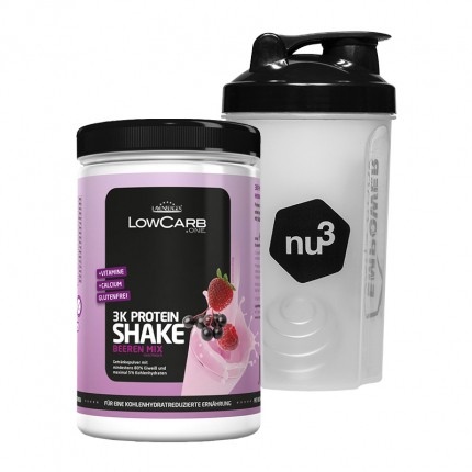 LowCarb.one 3K Protein-Shake + nu3 Shaker, Beeren Mix