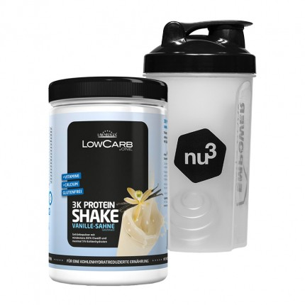 LowCarb.one 3K Protein-Shake + nu3 Shaker, Vanille-Sahne