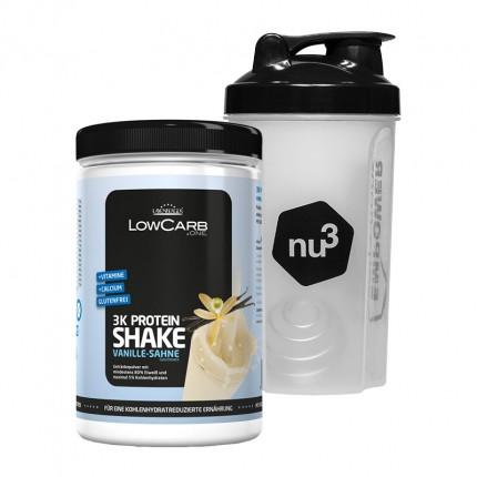 Layenberger LowCarb.one 3K Protein-Shake Vanille-Sahne + nu3 Shaker