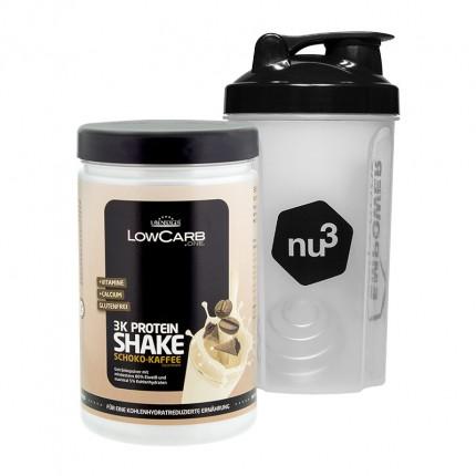 Layenberger LowCarb.one 3K Proteinshake sjoko-kaffe + nu3 Shaker