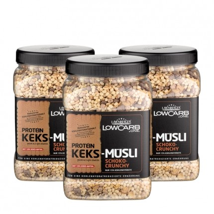 3 x Layenberger LowCarb.one Protein Keks Müsli Schoko-Crunchy