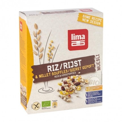 Lima, Muesli riz & millet bio, lot de 2