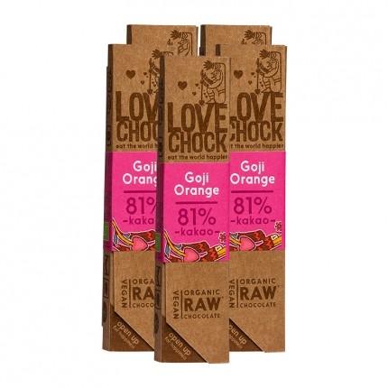 5 x Lovechock rohe Bio-Schokolade Goji / Orange