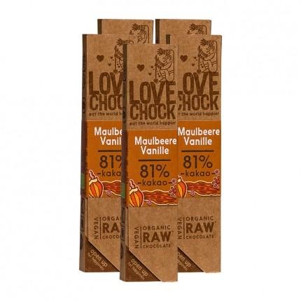 5 x Lovechock rohe Bio-Schokolade Maulbeere/Vanille
