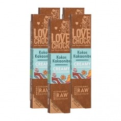 Lovechock Bio rohe Schokolade Creamy, Kokos-Kakaonibs