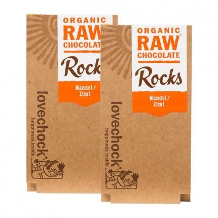 Lovechock Bio rohe Schokolade Rocks, Mandel-Zimt